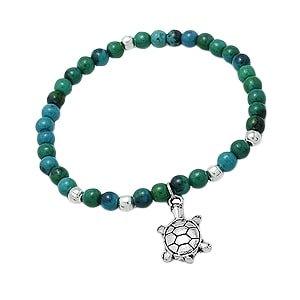 Azurite Gemstone Tortoise Stretch Bracelet