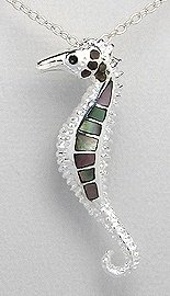Black Mother of Pearl Seahorse Sterling Silver Necklace 975