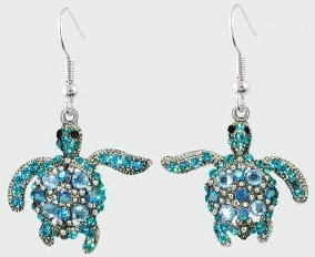 Sea Turtle Blue and Turquoise Crystal Earrings