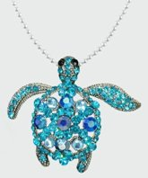 Sea Turtle Blue and Turquoise Crystal Pendant