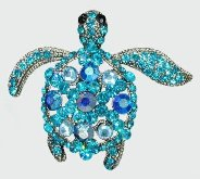 Sea Turtle Blue and Turquoise Crystal Pendant