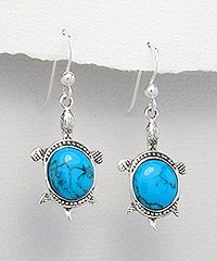 Sterling Silver Turtle with blue Turquoise Earrings 657