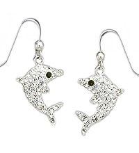 Sterling Silver Dolphin with Crystals Earrings 406