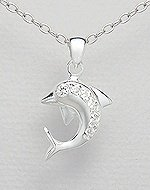 Sterling Silver Dolphin Necklace with CZ
