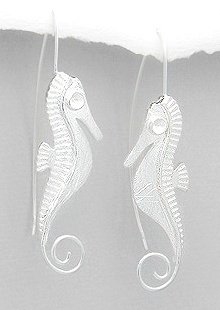 Ethnic Seahorse Sterling Silver Earrings 634