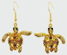 Sea Turtle Gold Crystal Theme Earrings