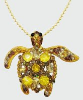 Sea Turtle Gold Crystal Theme Pendant