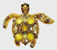 Sea Turtle Gold Crystal Theme Pendant