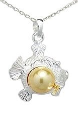 Fish with Gold Pearl Sterling Silver Necklace