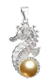 Seahorse with Gold Pearl Sterling Silver Pendant PP 757