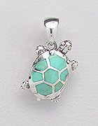 Sterling Silver Terrapin Pendant with light green Turquoise 558