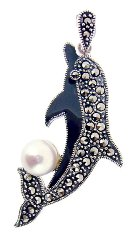 Sterling Silver Dolphin with Marcasite Pendant M553