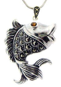 Sterling Silver Fish with Marcasite Pendant