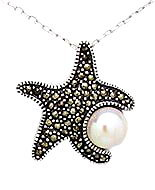 Sterling Silver Starfish with Marcasite & Fresh Water Pearl Necklace 544
