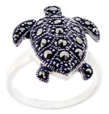 Sterling Silver Turtle with Marcasite Ring M751