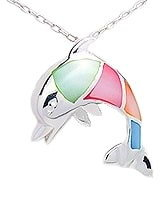 Sterling Silver Dolphin with multi color Mother of Pearl Pendant 181