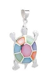 Sterling Silver Tortoise Pendant 081 with multi color Mother of Pearl