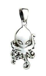Sterling Silver Octopus Alien Pendant PP041