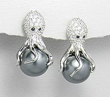 Octopus Sterling Silver Earrings with CZ and Rhodium Plating 394