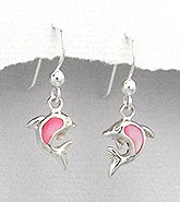Sterling Silver Dolphin with Pink Mother of Pearl Earrings 406