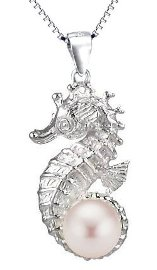 Seahorse with Pink Pearl Sterling Silver Necklace PP 757