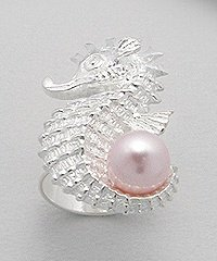 Sterling Silver Seahorse Ring with Pearl - Pink