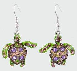 Sea Turtle Purple, Pink and Green Crystal Earrings