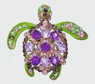 Sea Turtle Purple, Pink and Green Crystal Pendant