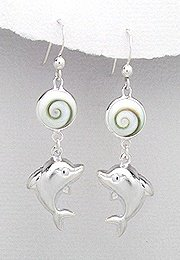 Sterling Silver Dolphin with Shiva Shell Earrings 004