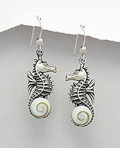 Sterling Silver Seahorse with Shiva Shell Earrings 414