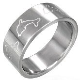 Stainless Steel Dolphin Band Ring