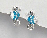 Sterling Silver Seahorse with with Blue Enamel Earrings 292