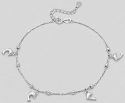 Sterling Silver Dolphin Anklet 713