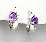 Sterling Silver Dolphin Omega Back Earrings with Amethyst 130