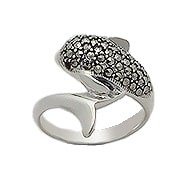 Sterling Silver Dolphin Wrap-Around Ring 733