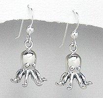Sterling Silver Octopus Earrings PE 437
