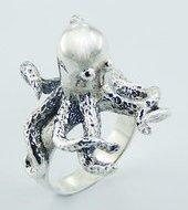 Sterling Silver Octopus Ring PR 718