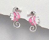 Sterling Silver Seahorse with Pink Enamel Earrings 292