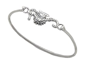 Sterling Silver Seahorse Bangle 238