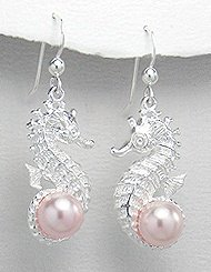 Sterling Silver Seahorse Earrings with Pink Pearl