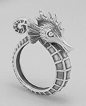 Sterling Silver Wrap Around Seahorse Ring 045