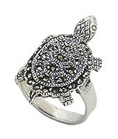 Sterling Silver Terrapin Ring with Marcasite