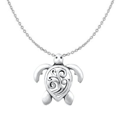 Sterling Silver Sea Turtle Wave Filigree Necklace SIP6268