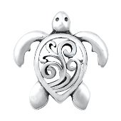 Sterling Silver Sea Turtle Wave Filigree Pendant SIP6268