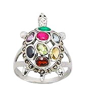 Turtle Sterling Silver with Gemstones Ring