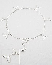 Sterling Silver Whale Tail Anklet 562