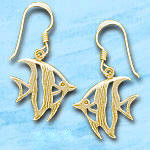 angel fish dangle earrings de420 in gold