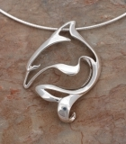 artistic sterling silver dolphin necklace
