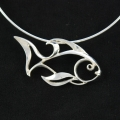 Aqueous Silhouette Sterling Silver Fish Necklace