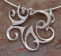 Aqueous Silhouette Sterling Silver Octopus Pendant